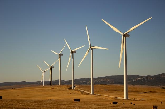 Paisaje con molinos de viento