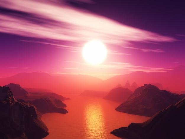 Paisaje de montaña en 3d contra un cielo al atardecer