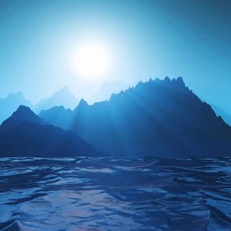 Paisaje de montaña 3d contra el océano.