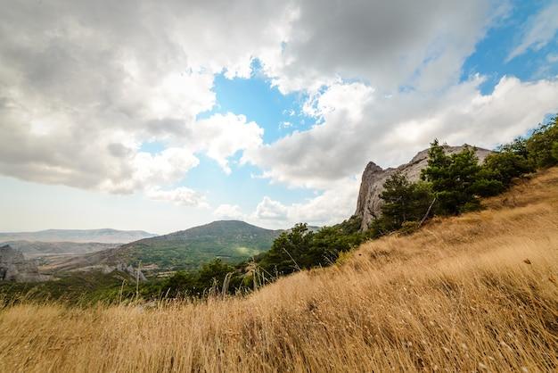 Paisaje de montaña, cielo nublado, hierba seca en primer plano, apaciguamiento