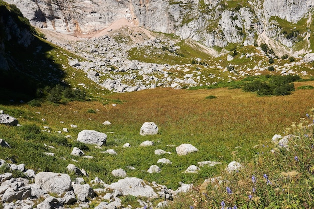 Paisaje de montaña: pequeño valle entre escarpados acantilados con una pradera alpina otoñal