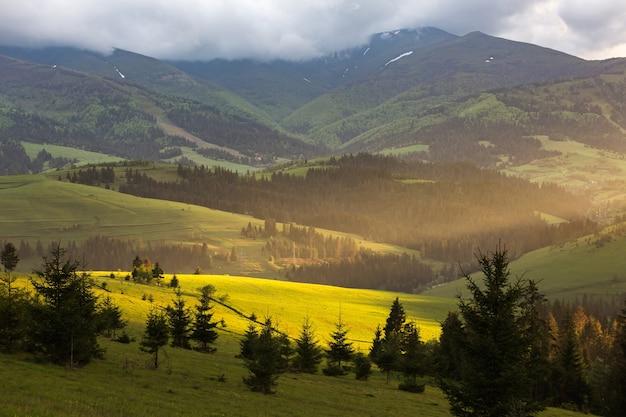 Paisaje de montaña y prado iluminado por el sol al atardecer