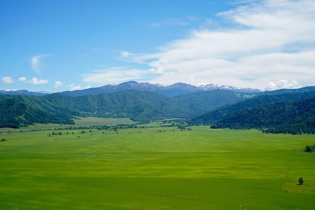 Paisaje con montañas y campo de hierba verde, cielo azul con nubes