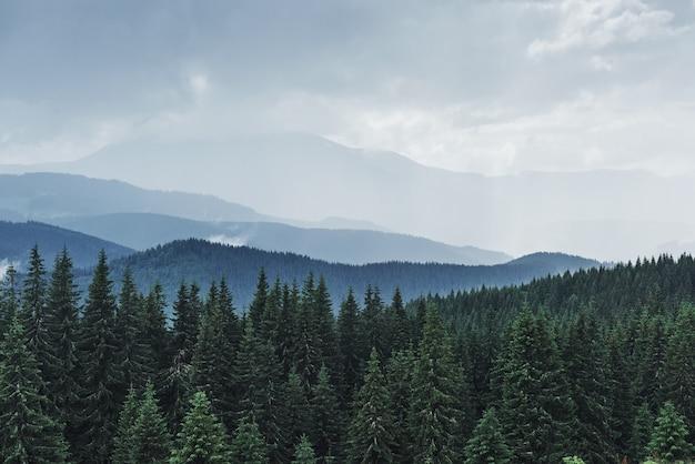 Paisaje de montañas escénicas después de la lluvia. cárpatos de ucrania.