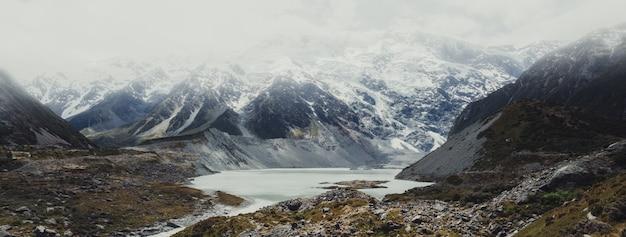 Paisaje de montañas, lagos y praderas