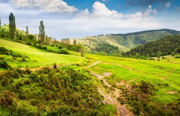 Paisaje de montañas de los pirineos en verano. huesca