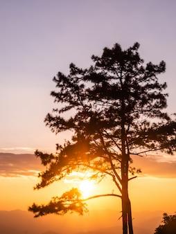 Paisaje de montañas y puesta de sol, thsiland