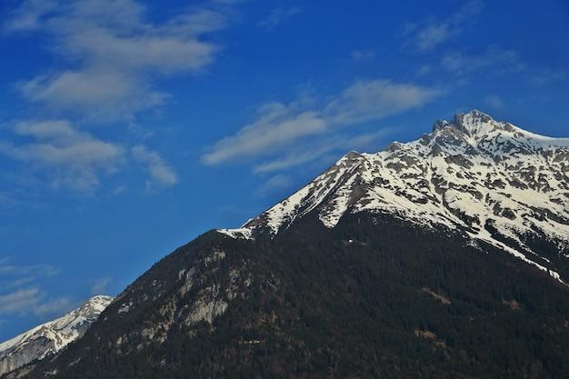 Paisaje natural de montaña, bosque y campo verde con cielo azul claro