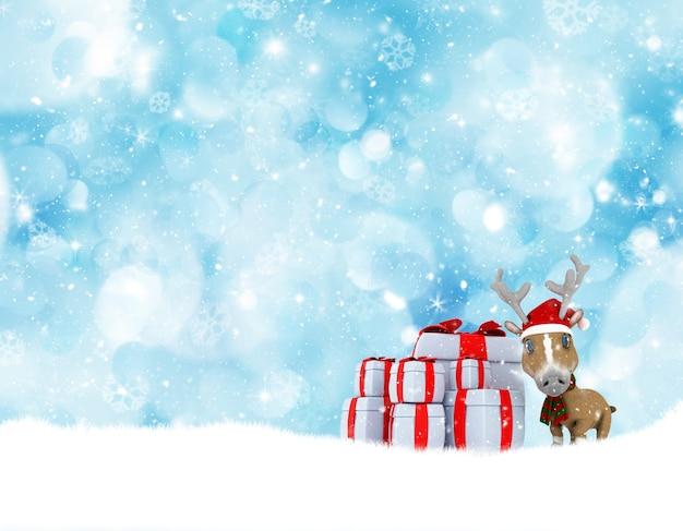 Paisaje navideño con lindos renos y pila de regalos.