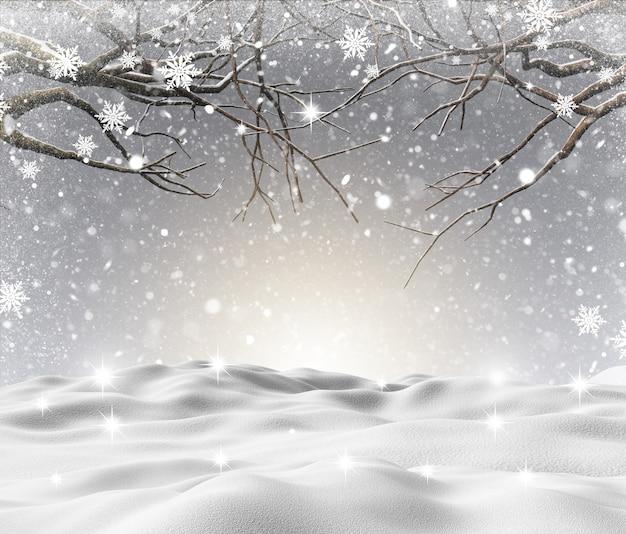 Paisaje nevado en 3d con árboles de invierno.