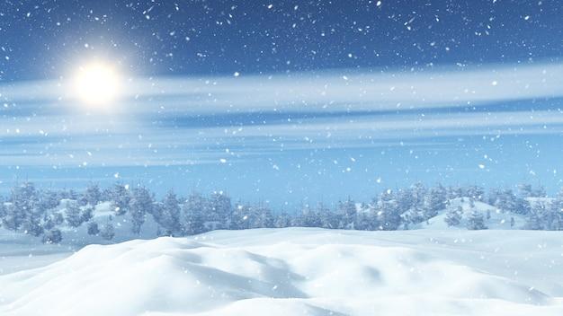 Paisaje nevado en 3d con árboles.