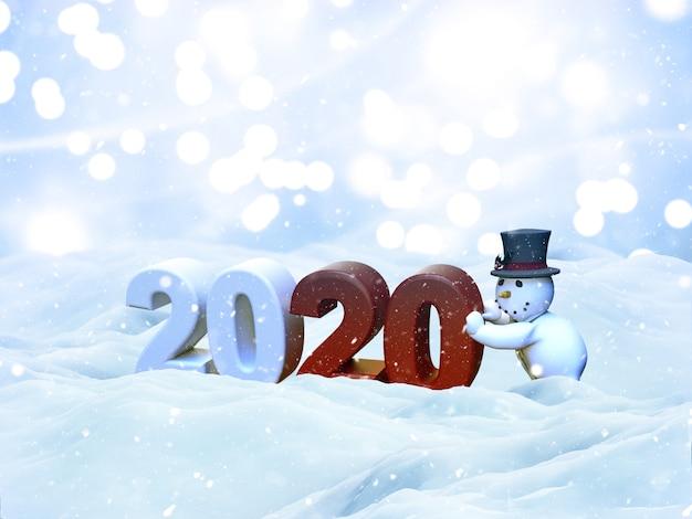 Paisaje de nieve de navidad 3d con muñeco de nieve que trae el año nuevo 2020, tarjeta de felicitación