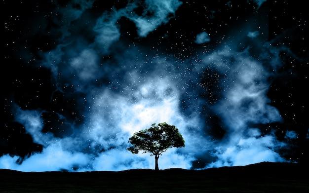 Paisaje en la noche contra el cielo del espacio