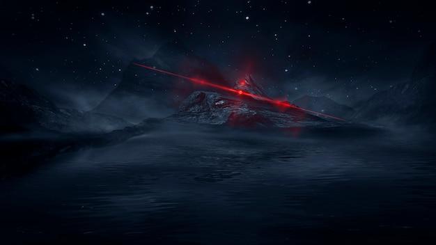 Paisaje nocturno de fantasía futurista con reflejo de luz en el agua. ilustración 3d del portal de la galaxia espacial de neón