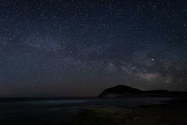 Paisaje nocturno con vía láctea desde la playa de genoveses. parque natural cabo de gata. andalucía. españa.
