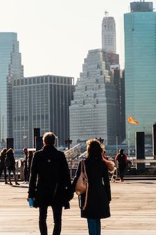 Paisaje de nueva york en el amanecer