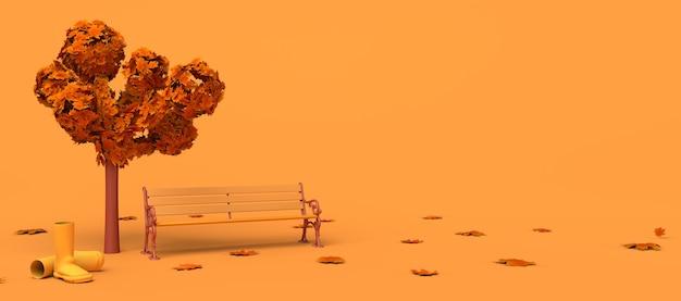 Paisaje otoñal con hojas caídas, banco y botas de agua. copie el espacio. ilustración 3d.