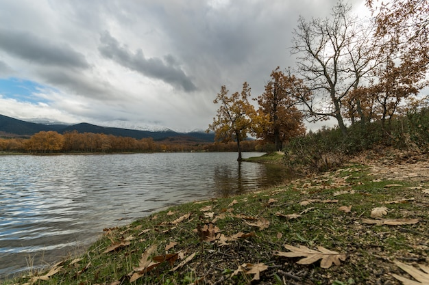 Paisaje otoñal de un lago en un día nublado