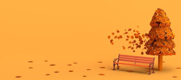 Paisaje de otoño con un banco y hojas de árboles volando y cayendo copia espacio ilustración 3d