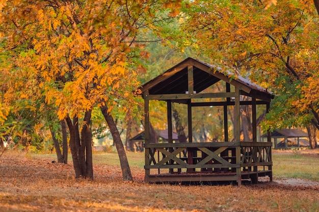 Paisaje de otoño un cenador de madera en el parque