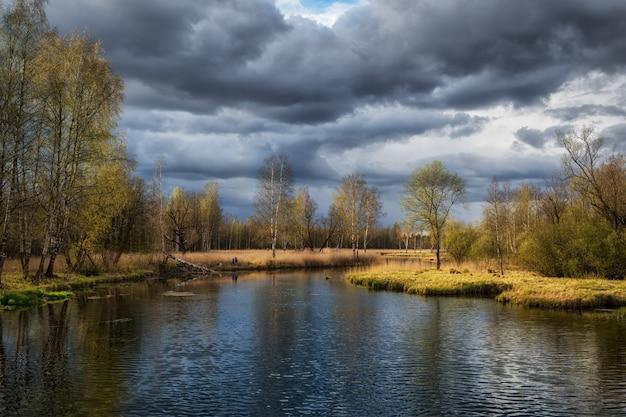 Paisaje de primavera rusa con reflejos de árboles en el lago
