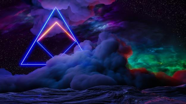 Paisaje de realidad virtual de ciencia ficción estilo cyberpunk render 3d, universo de fantasía y fondo de nube espacial
