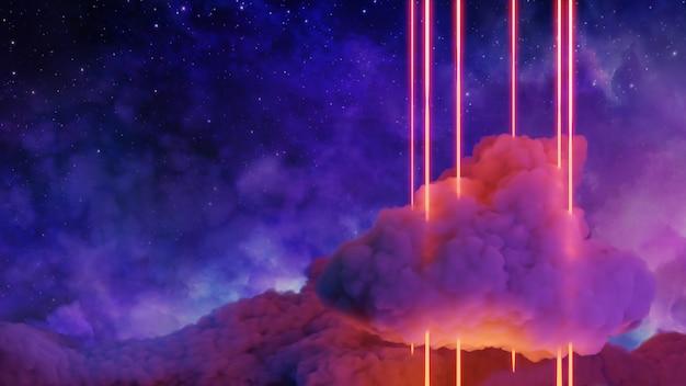 Paisaje de realidad virtual de ciencia ficción estilo cyberpunk render 3d, universo y fondo de nube espacial