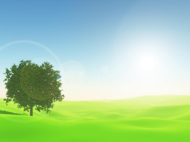 Paisaje soleado 3d con árbol en la hierba verde brillante