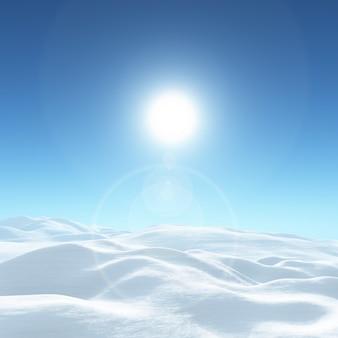 Paisaje soleado de invierno cubierto de nieve en 3d