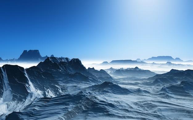 Paisaje surrealista 3d con montañas nevadas