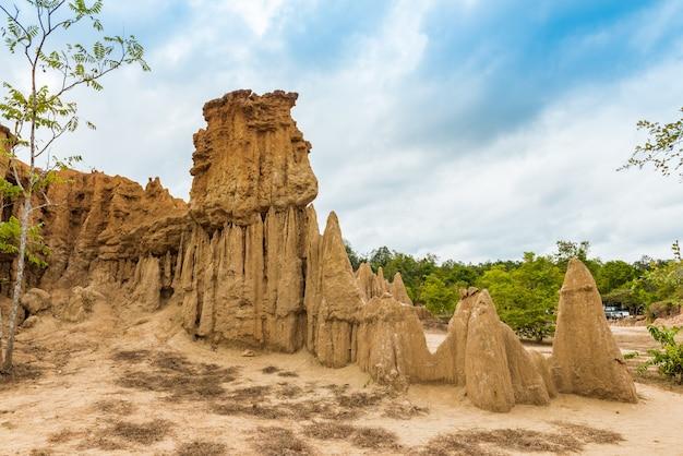 Paisaje de texturas del suelo erosionado pilares de arenisca, columnas y acantilados,