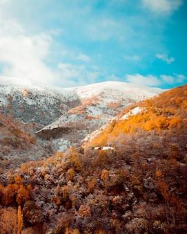 Paisaje de transición de otoño e invierno