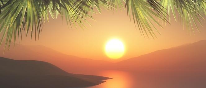 Paisaje tropical 3d con cielo del atardecer y frondas de palmeras