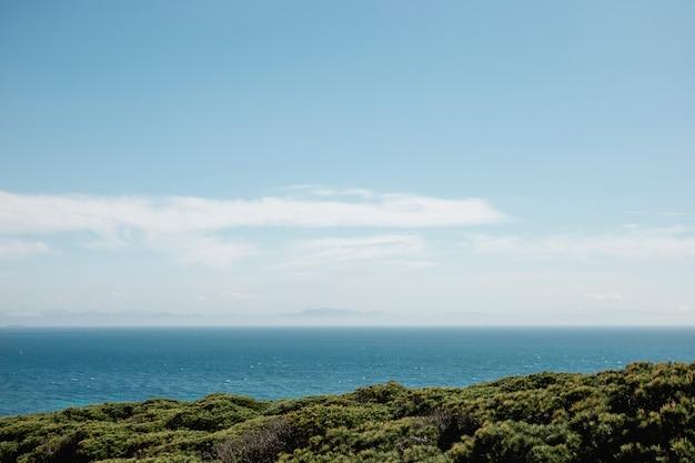 Paisaje tropical de isla con océano.