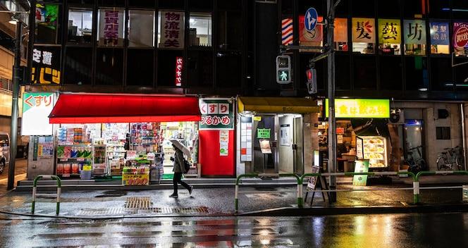 Paisaje urbano lluvioso japón