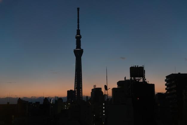 Paisaje urbano noche oscura del árbol del cielo de tokio localizar