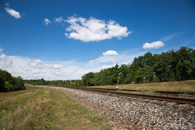 Paisaje de verano con un ferrocarril y un robledal