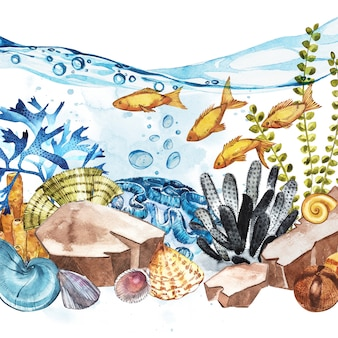 Paisaje de vida marina: el océano y el mundo submarino con diferentes habitantes.