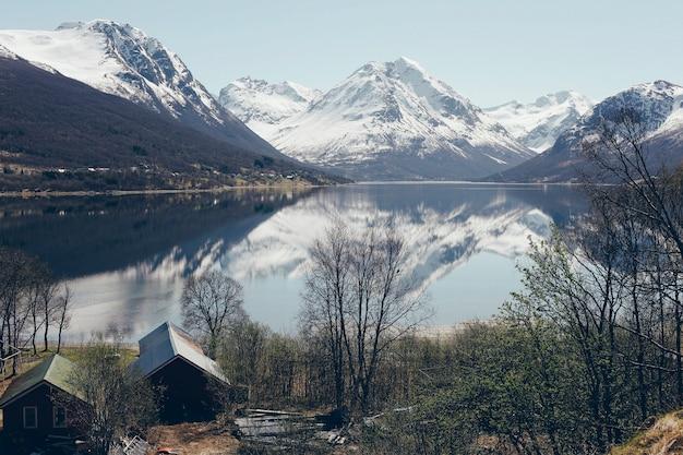 Paisajes noruegos con nieve y árboles