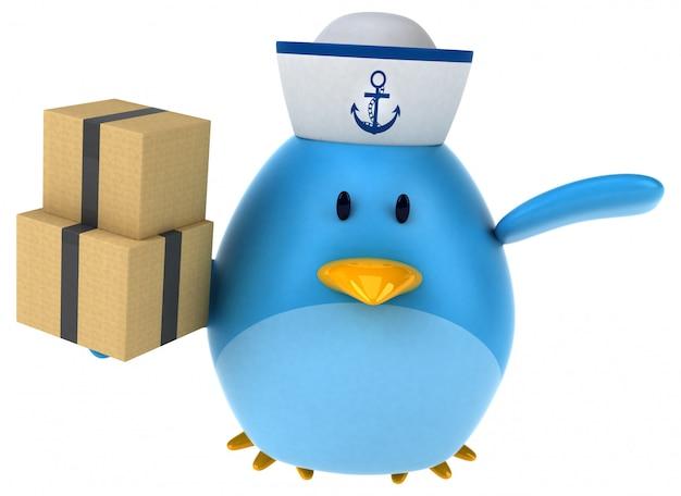 Pájaro azul - ilustración 3d