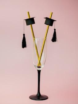 Pajitas de graduación en vidrio elegante
