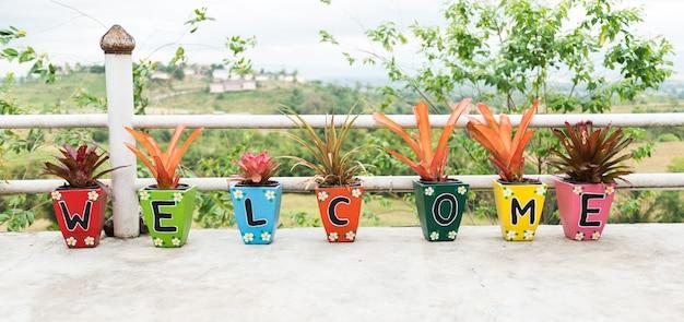 Palabra de bienvenida hecha de jardinera