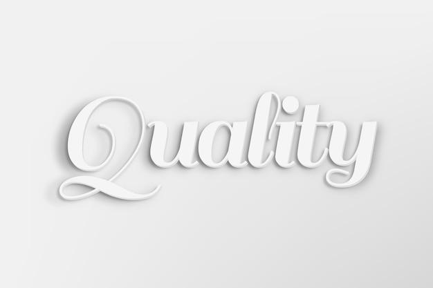 Palabra de calidad en estilo de texto 3d en blanco