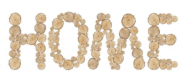 Palabra casa hecha de letras de anillo de madera. ilustración acuarela de palabra con textura.