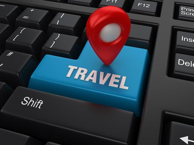 Palabra clave de computadora con marcador gps y palabra de viaje