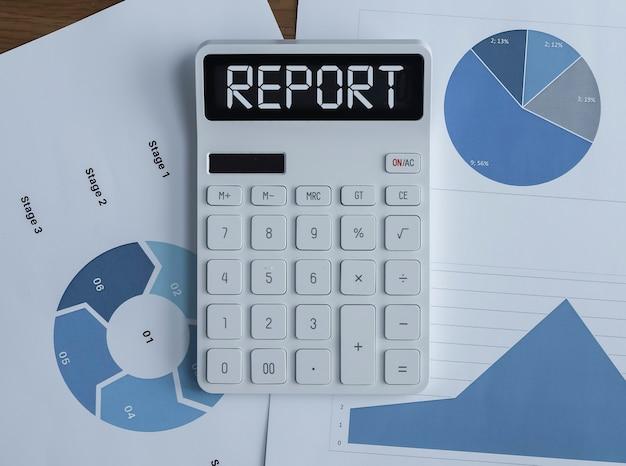 Palabra de concepto de informe financiero en documentos de calculadora y finanzas