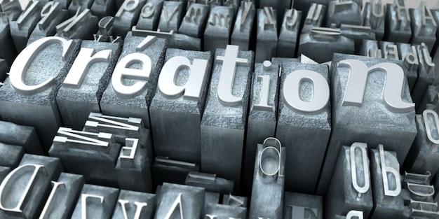 La palabra creación escrita en letras mecanografiadas.