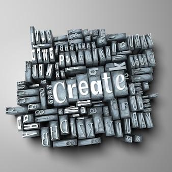 La palabra crear en casos de letras impresas