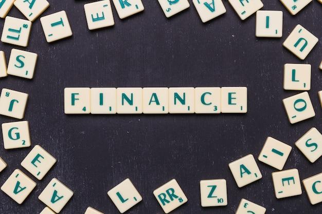 Palabra de finanzas hecha con letras scrabble
