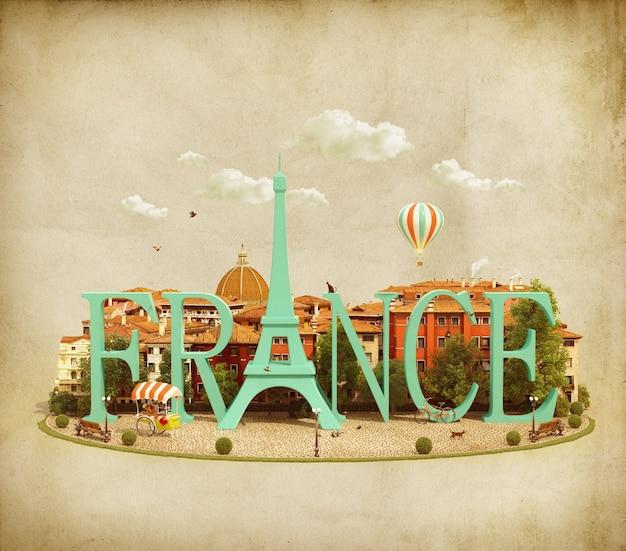 Palabra francia en la plaza con edificios antiguos de la ciudad europea